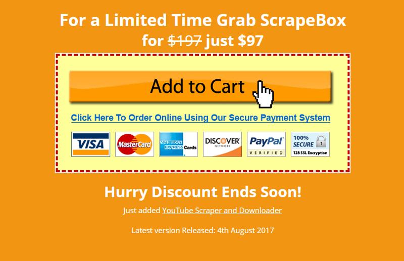 Immagine della sezione Add to cart di ScrapeBox