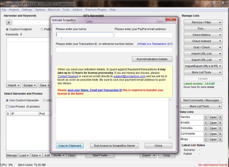 Immagine della procedura di attivazione di ScrapeBox