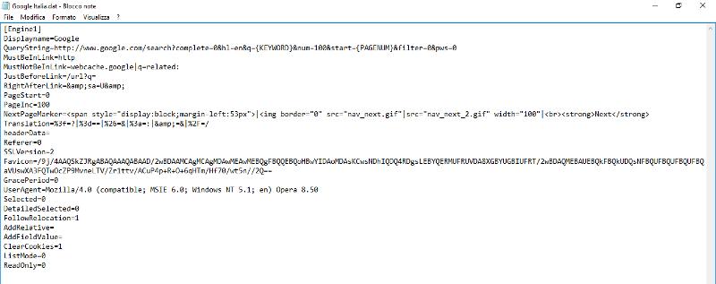 Immagine del file .dat con i dati del Custom Engine di ScrapeBox