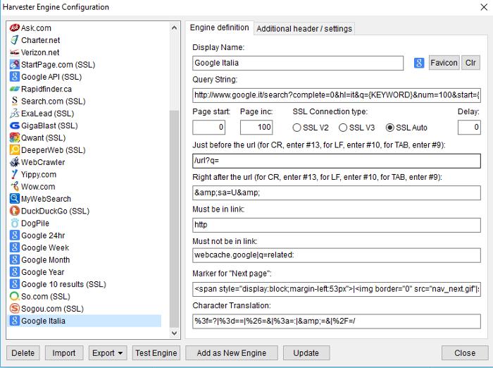 Immagine del custom engine harvester search