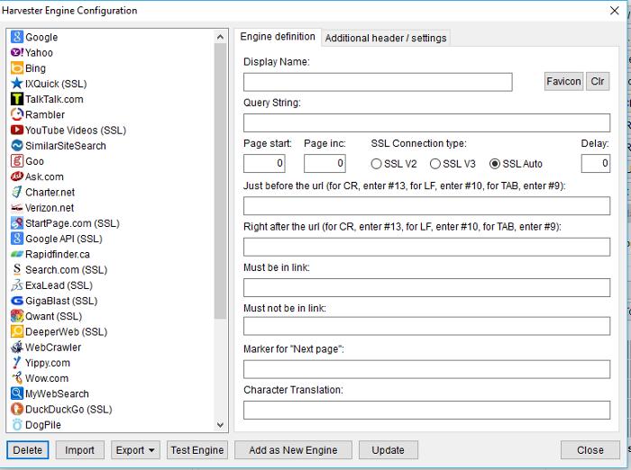 Immagine dell'Harvester Engine Configuration di ScrapeBox