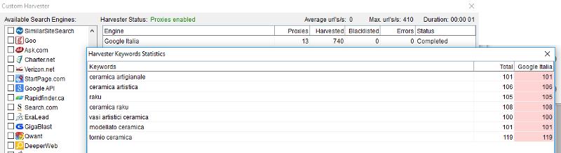 Immagine dell'harvester keywords statistics