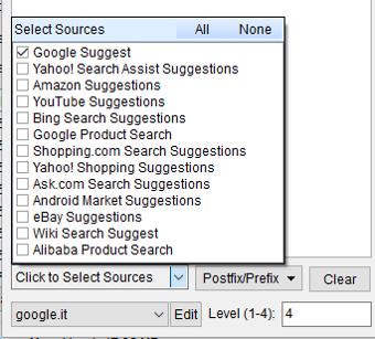Immagine del Keywords Scraper con elenco delle Sources