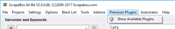 Immagine del menu Premium Plugins di ScrapeBox