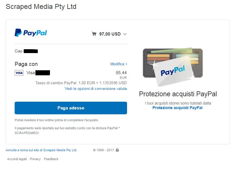 Immagine della pagina di conferma acquisto di PayPal