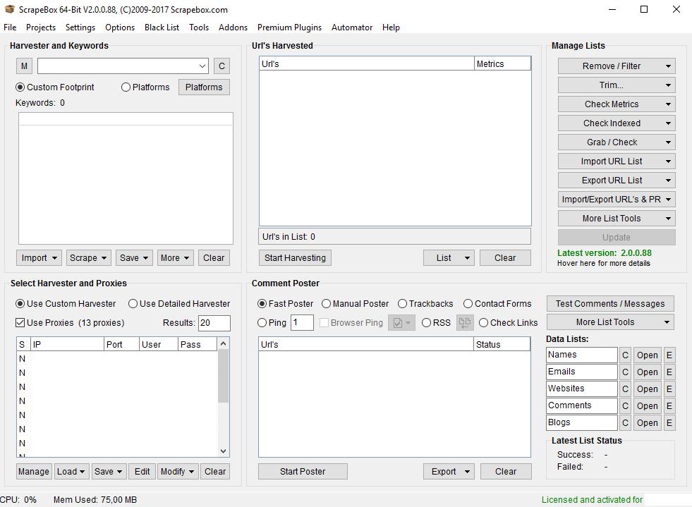 Immagine del programma ScrapeBox con licenza attivata