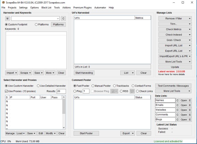 Immagine di ScrapeBox nella versione non attivata