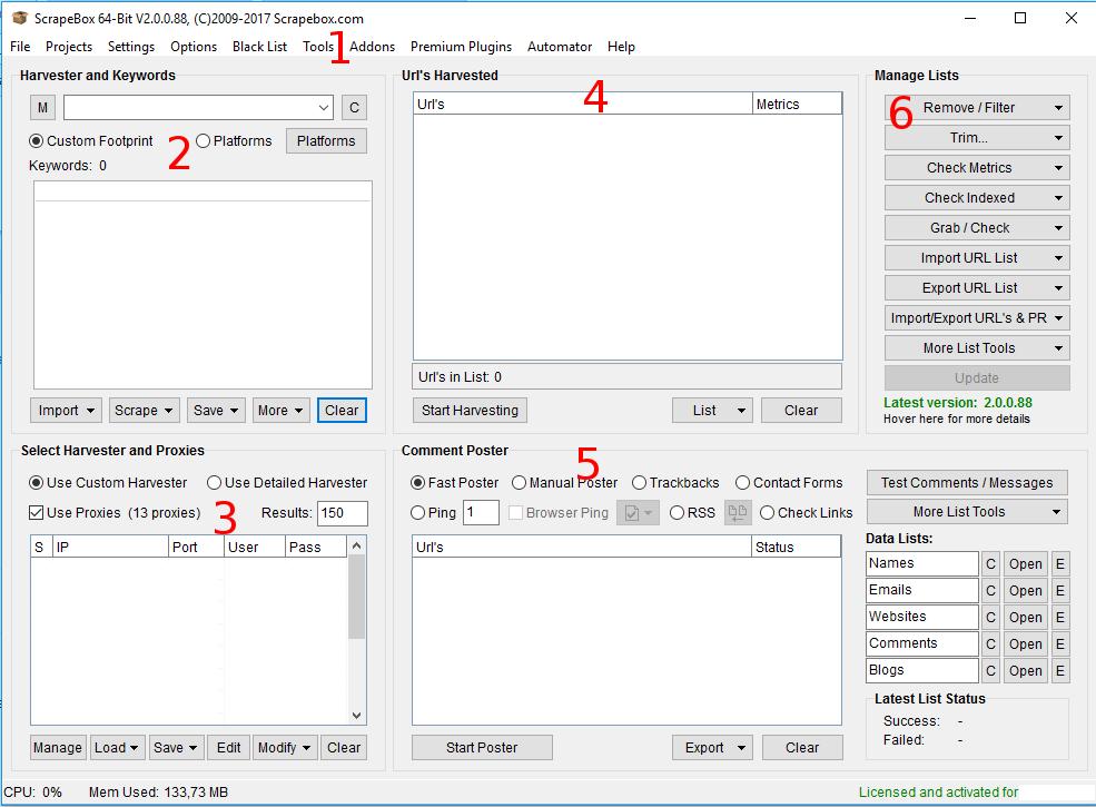 Immagine delle sezioni principali di ScrapeBox