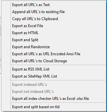 Immagine della sezione Export URL List