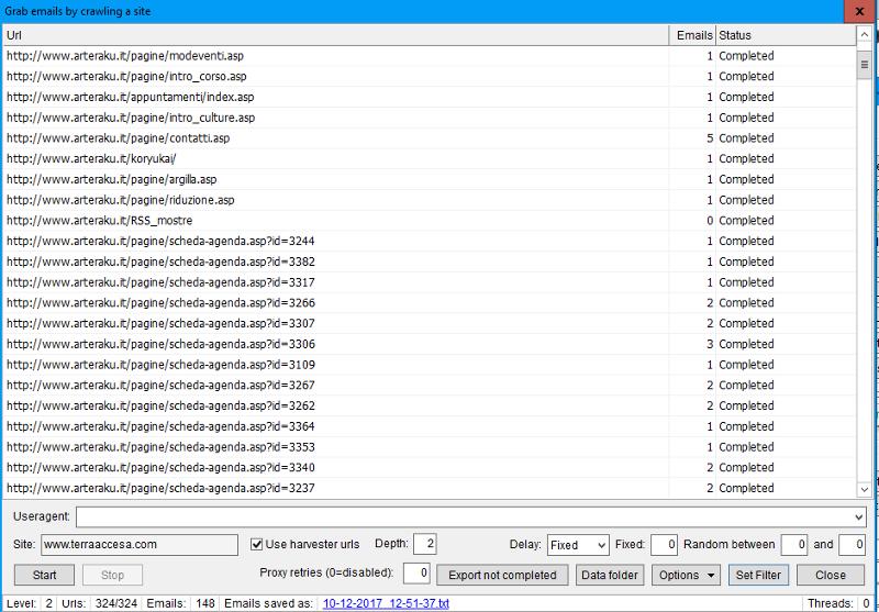 Immagine di un Grab emails da harvested urls in ScrapeBox