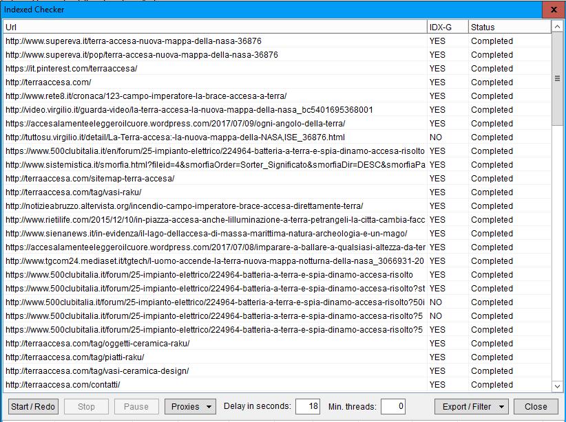 L'Indexed Checker di ScrapeBox nella sezione Check Indexed del Manage Lists