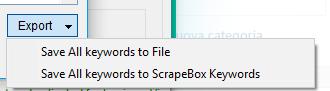 Immagine del pulsante Export di Keyword Scraper