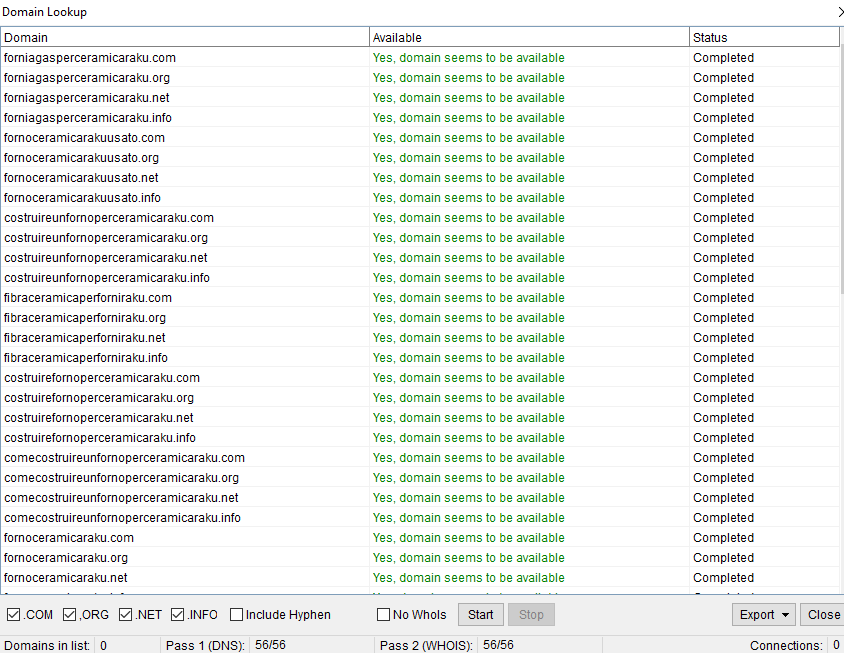 Immagine della videata del Domain Lookup di Keyword Scraper