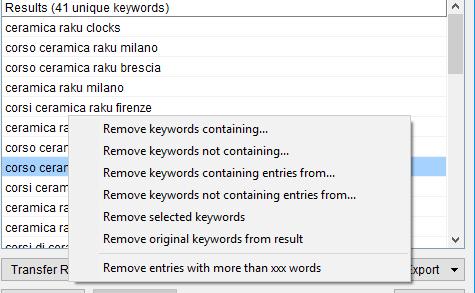 Immagine della sezione delle keywords scraper Remove