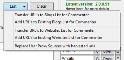Immagine del pulsante List della sezione Url's Harvesting