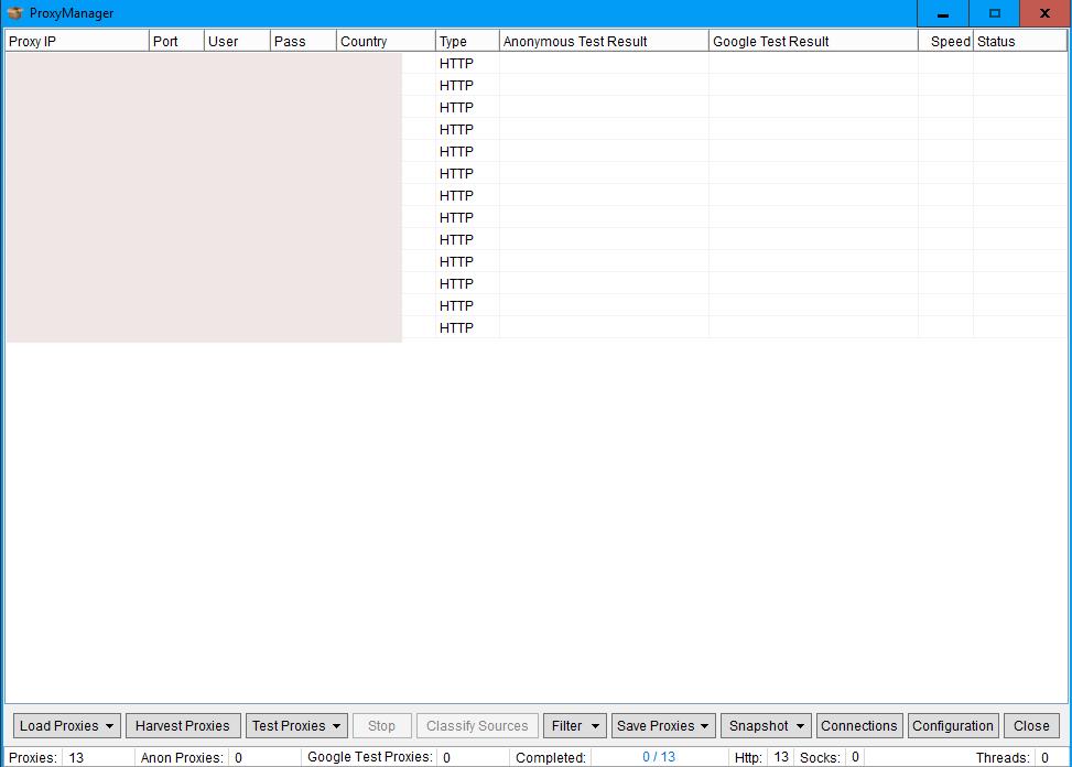 Immagine della finestra che si apre dopo aver cliccato su Manage della sezione Proxies di ScrapeBox