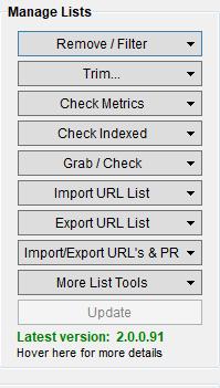 Immagine della Manage Lists