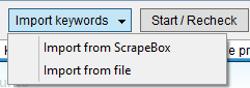 Immagine del pulsante d'Importazione delle keywords
